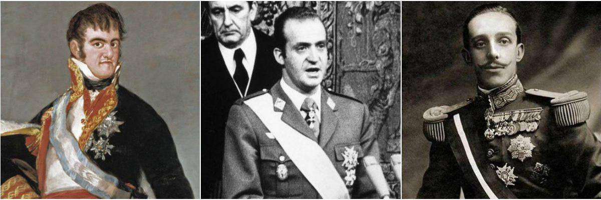 De izquierda a derecha: Fernando VII, Juan Carlos I y Alfonso XIII
