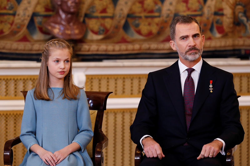 La princesa Leonor y el rey Felipe VI en la imposición del Toisón a la heredera de la Corona. EFE/Mariscal