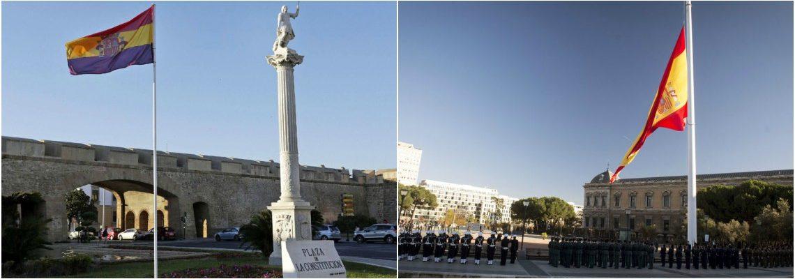 La bandera republicana en Cádiz y el el izado de la bandera en la plaza de Colón, una tradición desde 2001 .- Fotos de EFE