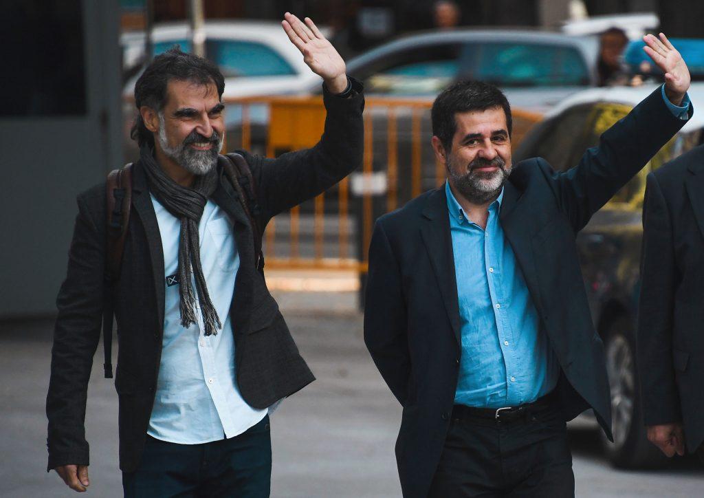 Jordi Sànchez, y Jordi Cuixart. AFP PHOTO / GABRIEL BOUYS