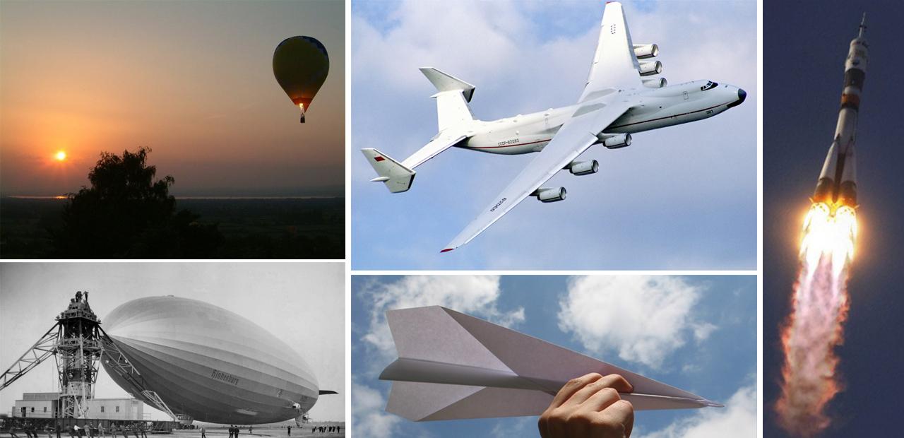 Aerostatos, aerodinos y cohetes.