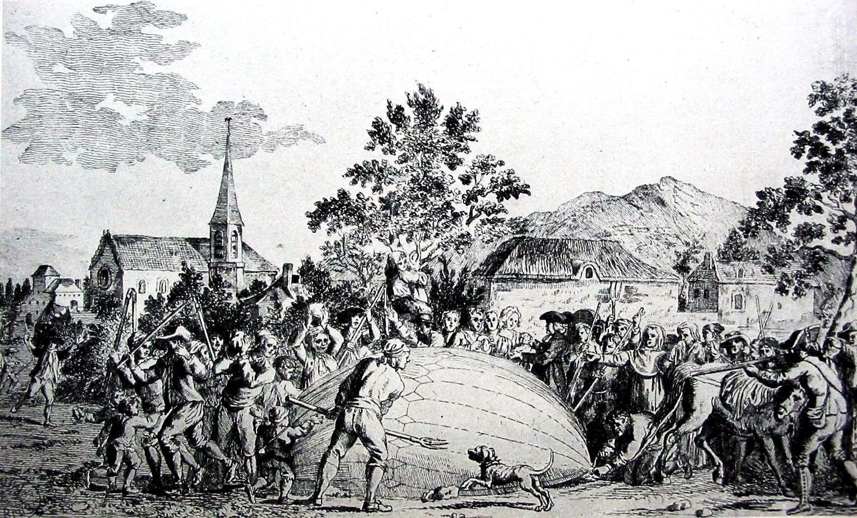 Campesinos asustados destruyen el globo de hidrógeno de los hermanos Robert y el profesor Jacques Charles, tras su aterrizaje en Gonesse.