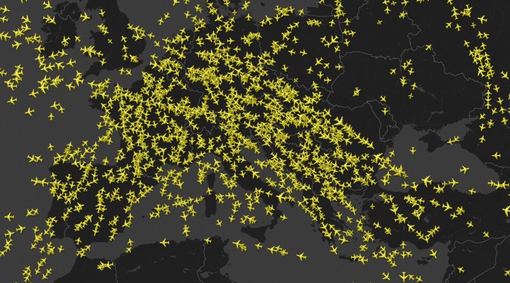 Tráfico aéreo en Europa, 08/09/2014 a las 11:00 CET.