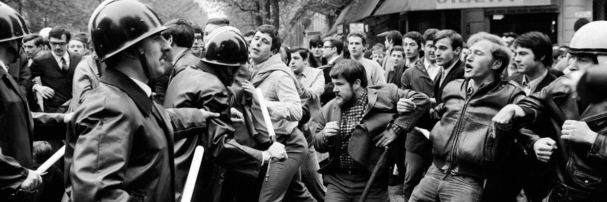 Protestas estudiantiles en París en mayo de 1968. AFP