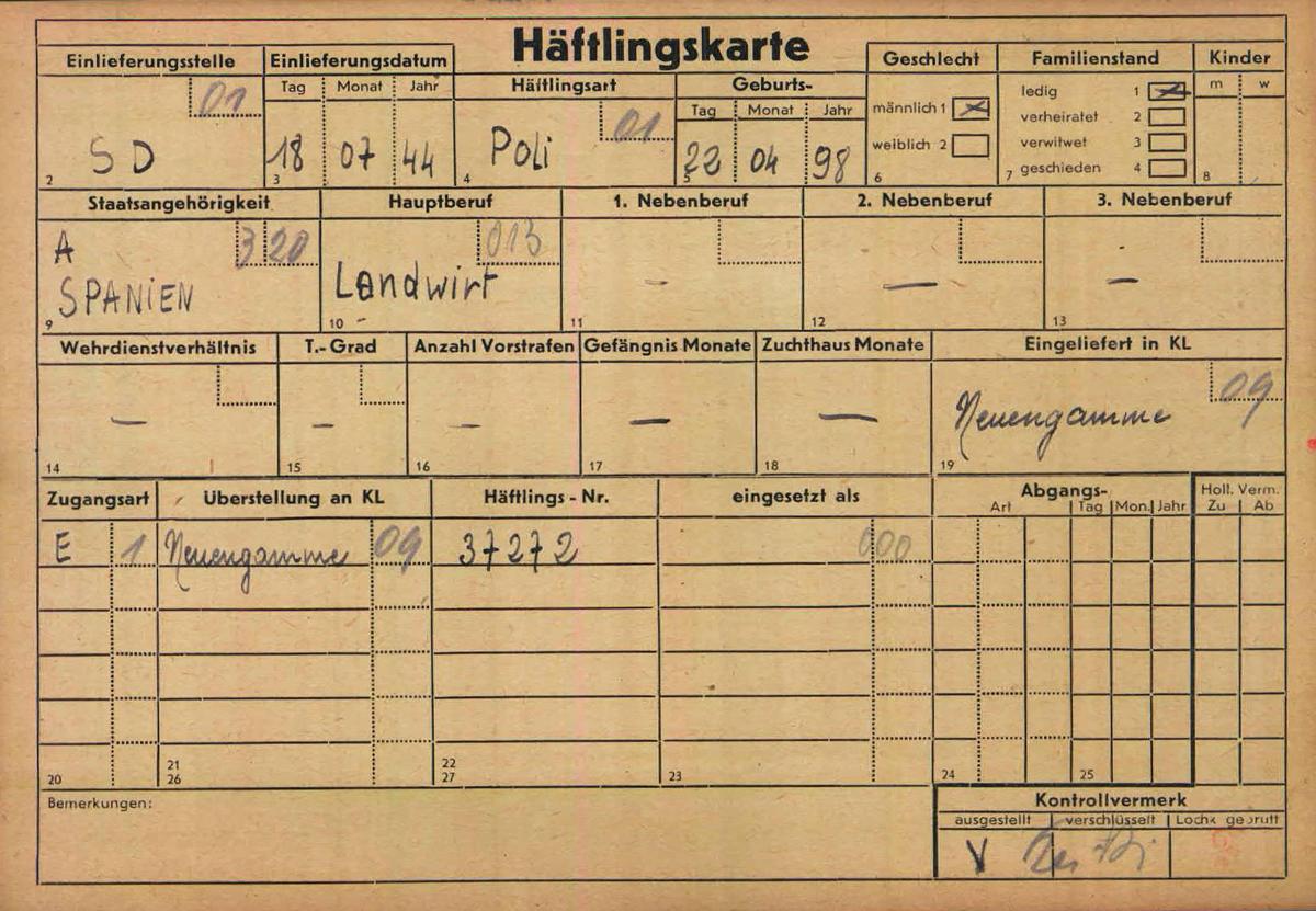 Tarjeta de prisionero de Cayo Pelegay Villoque en un campo nazi./ AROLSEN ARCHIVES