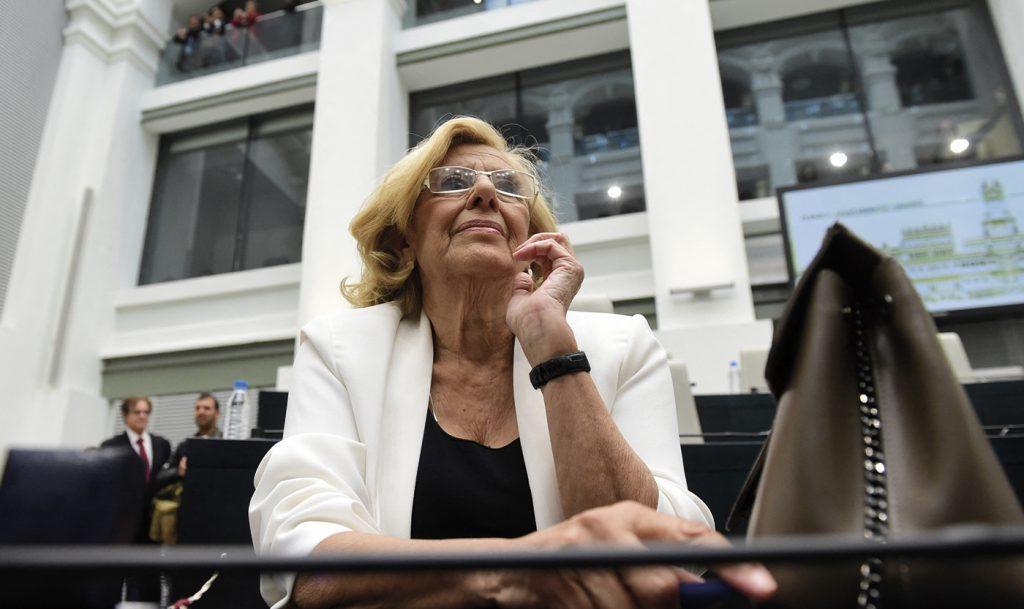 Manuela Carmena el día de su investidura en el Ayuntamiento de Madrid.- PIERRE-PHILIPPE MARCOU / AFP