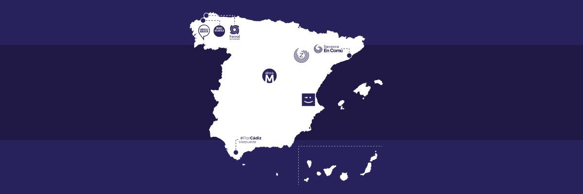 Mapa de los ayuntamientos del cambio.- CÉSAR MEDINA
