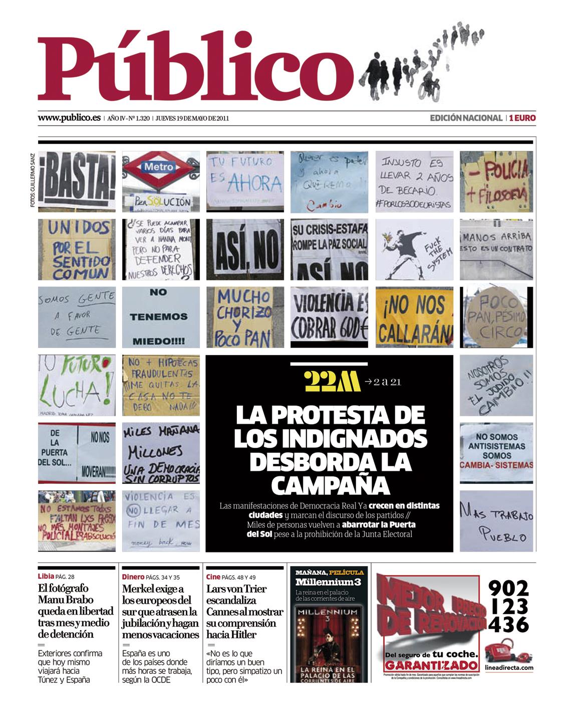 Portada de Público dedicada al 15M de mayo de 2011.- HEMEROTECA DEPÚBLICO